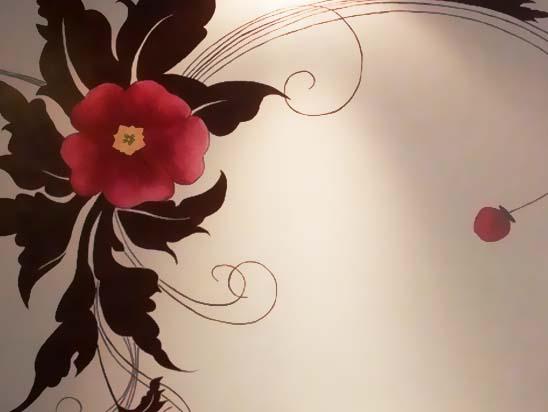 藤蔓电视墙手绘