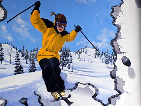 滑雪场墙绘壁画《天外来客》