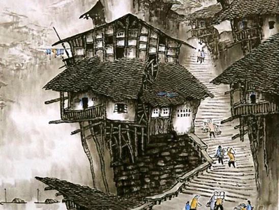 吊脚楼墙绘壁画【王朝会所】