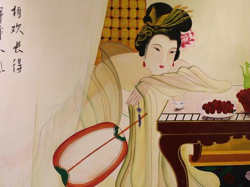 台州会所墙绘壁画【仕女图】