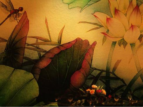 酒店墙绘壁画【夏荷】
